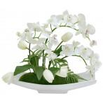 Декоративные цветы Орхидея белая c тюльпанами на керам подставке