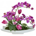 Декоративные цветы Орхидея сиреневая c тюльпанами на керам подставке