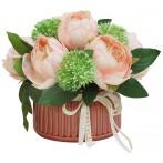 Декоративные цветы Розы розовые в керам вазе
