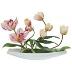 Декоративные цветы Тюльпаны св. с орхидеями на керамической подставке