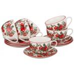 """Чайный набор """"Гранаты"""" на 6 персон 12 предметов"""