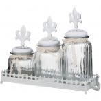 """Набор банок для сыпучих продуктов """"Вензель"""" из 3 шт. на металлической подставке"""