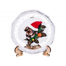 """Тарелка стеклянная декоративная на подставке """"Символ года 2018-собака в шапке"""""""