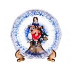 "Тарелка стеклянная декоративная на подставке ""Символ года 2018-собака на варежке"""