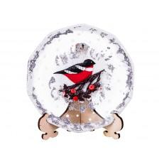 """Тарелка стеклянная декоративная на подставке """"Снегири на рябине"""""""