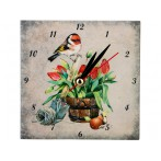 """Часы """"Птичка и тюльпаны"""""""