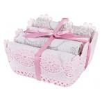 Комплект из 4-х салфеток в корзинке (розовый, бежевый)